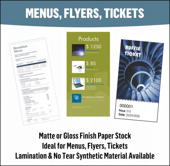 Menus, Flyers & Ticket Printing