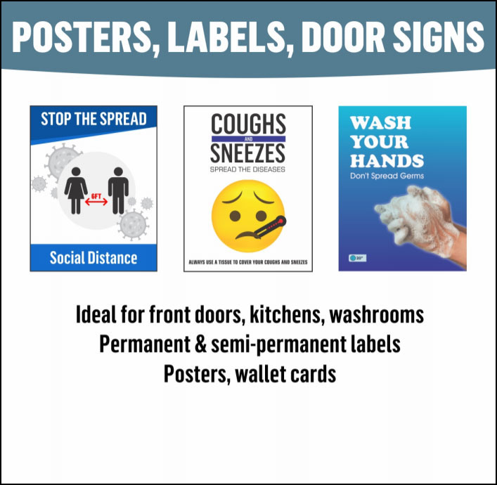 Poster, Labels, and Door Signs (+COVID Messages)
