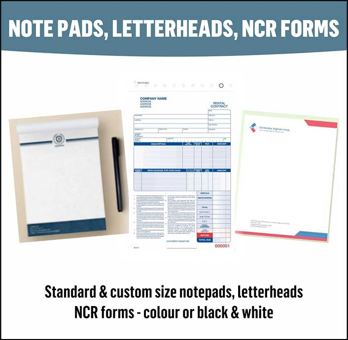 Notepads, Letterheads, and NCR Forms